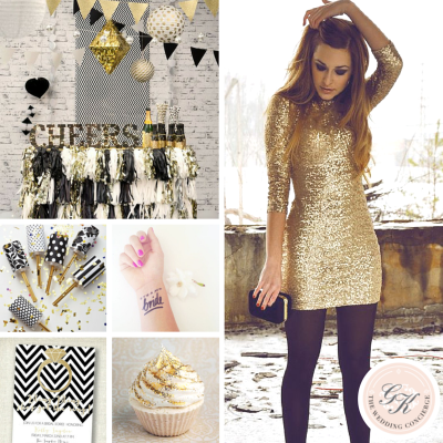 Black & Gold Glitter Bachelorette Inspiration
