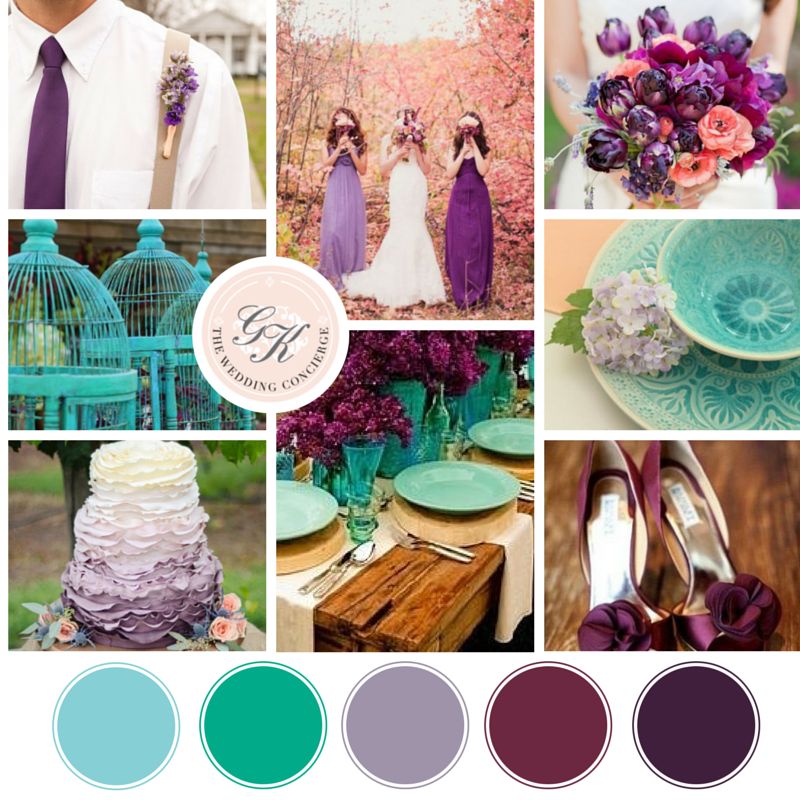 Countryside Purple & Turquoise Wedding Inspiration Board